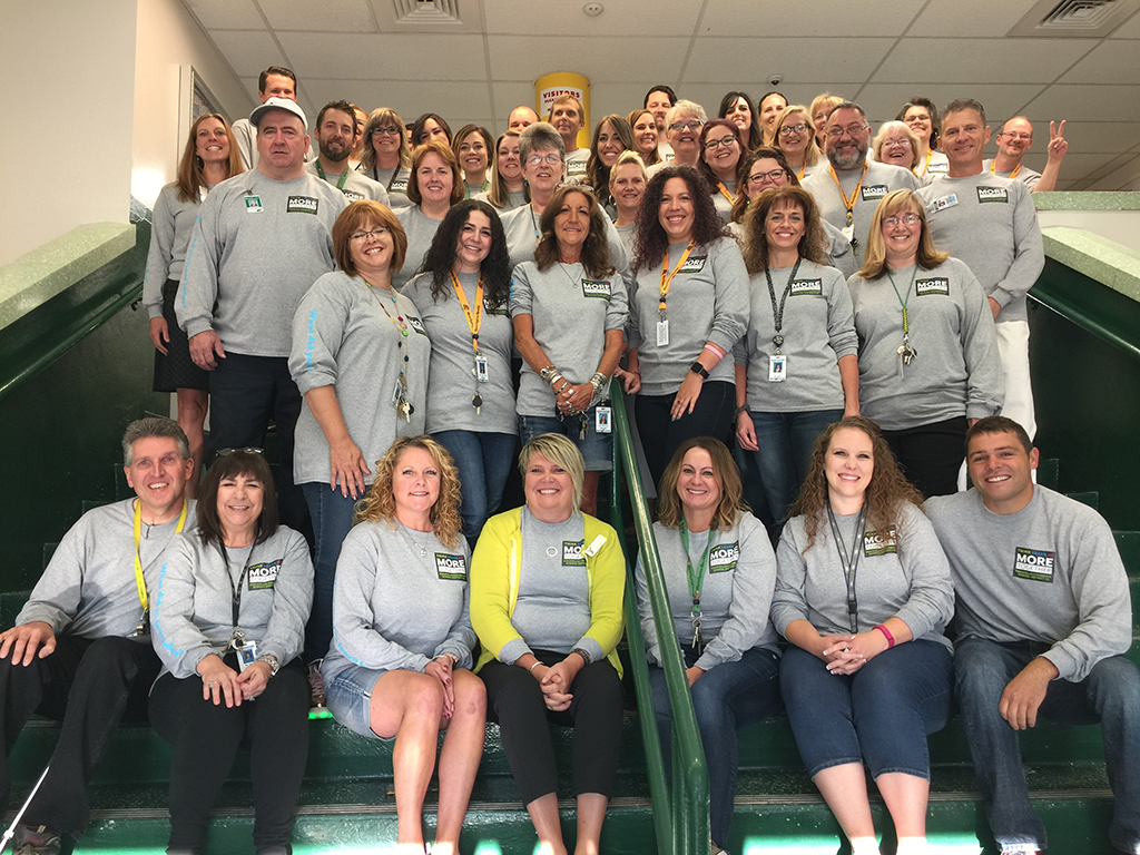 image of faculty and staff in school district tshirts